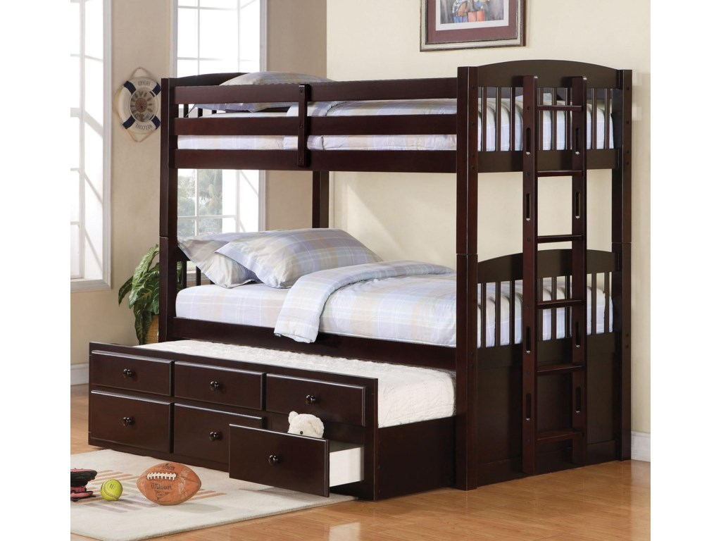 Logan Twin Over Bunk Bed With Trundle Understorage By Coaster At Knight Furniture Mattress
