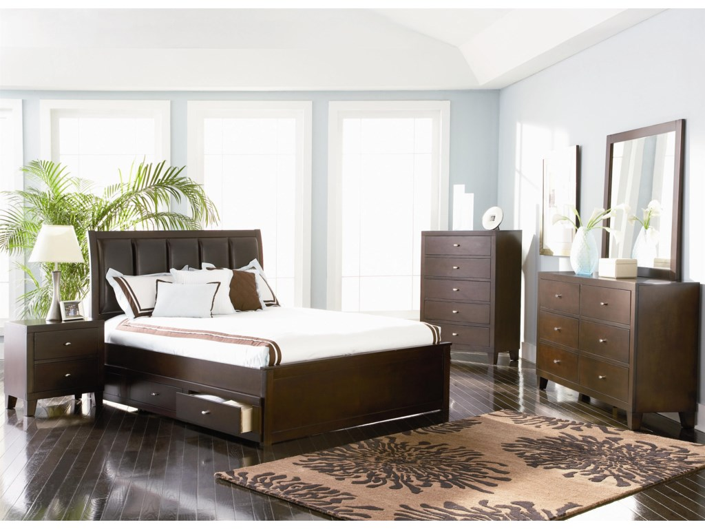 Shown with Night Stand, Queen Platform Storage Bed, Chest and Mirror