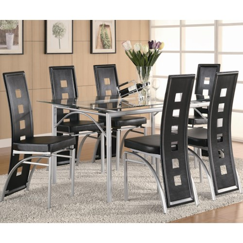 Coaster Los Feliz Contemporary Metal Table And Black Upholstered Chairs