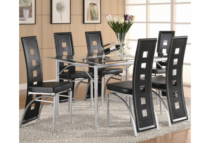 Los Feliz Contemporary Metal Table And Black Upholstered Chairs By Coaster At Dunk Bright Furniture