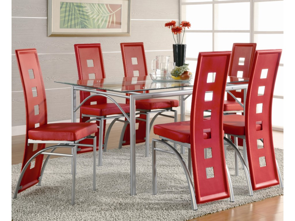 Coaster Los FelizDining Table and Chair (Red) Set