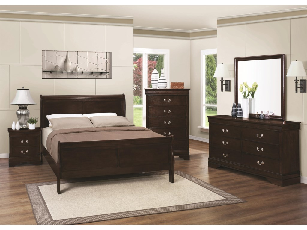 Coaster Louis Philippe 202Queen Sleigh Bed