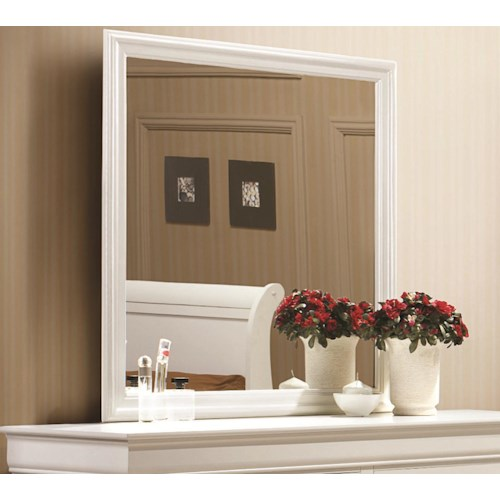 Coaster Louis Philippe 204 White Beveled Edge Square Mirror