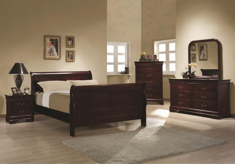 Bed Shown With 2 Drawer Night Stand, 5 Drawer Chest, 6 Drawer Dresser, and Mirror
