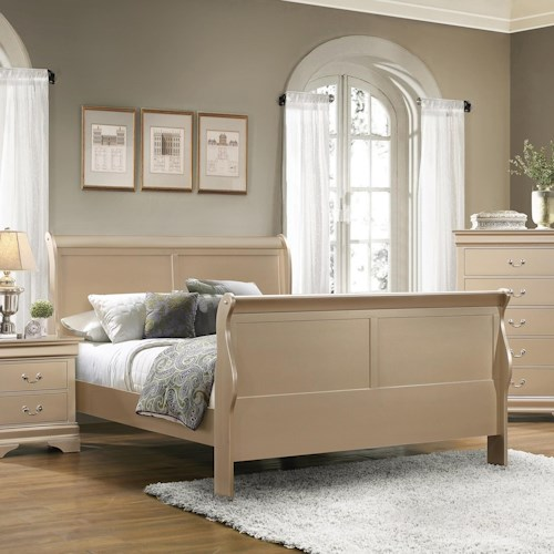 Coaster Louis Philippe Queen Sleigh Panel Bed