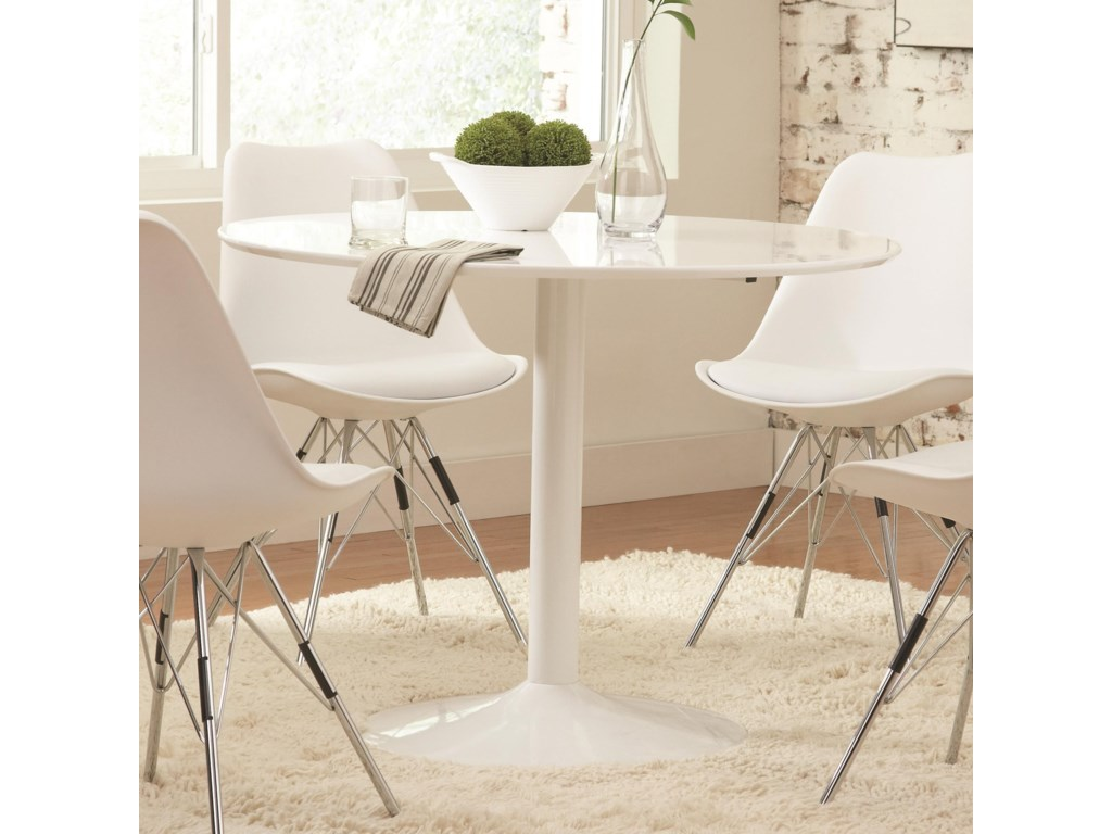 Lowry Contemporary Round Dining Table by Coaster at Sam Levitz Furniture