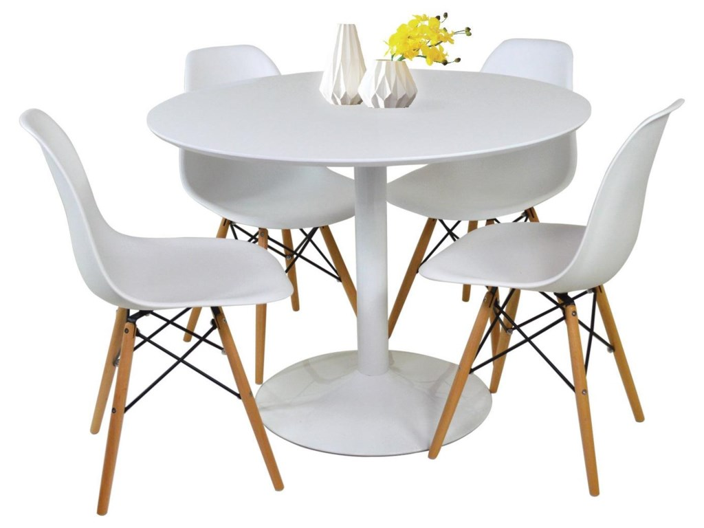 Lowry 5 Piece Dining Group with Round Table by Coaster at Sam Levitz  Furniture