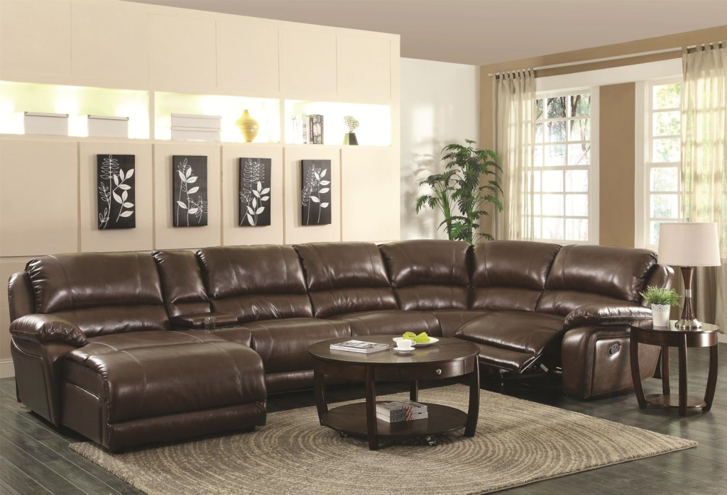 Coaster Mackenzie Chestnut 600357 6 Piece Reclining Sectional Sofa  ~ Sofa Bed Sectional With Recliner