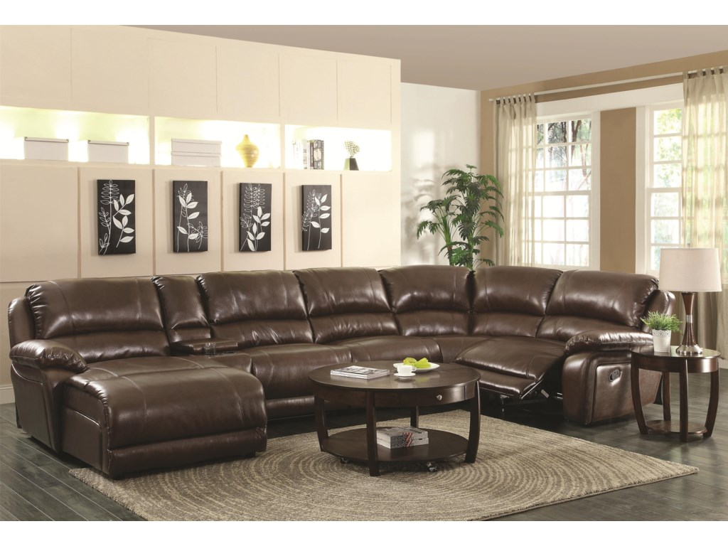 Mackenzie Chestnut 6-Piece Reclining Sectional Sofa with Casual Style by  Coaster at Dunk & Bright Furniture