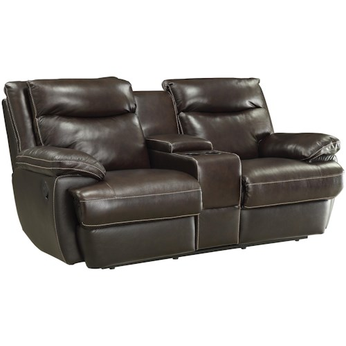 Coaster MacPherson Casual Leather Match Reclining Loveseat with Storage Compartment and Cupholders