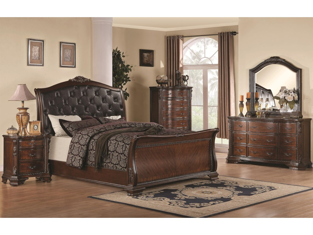Shown in Room Setting with Nightstand, Chest, Dresser and Mirror