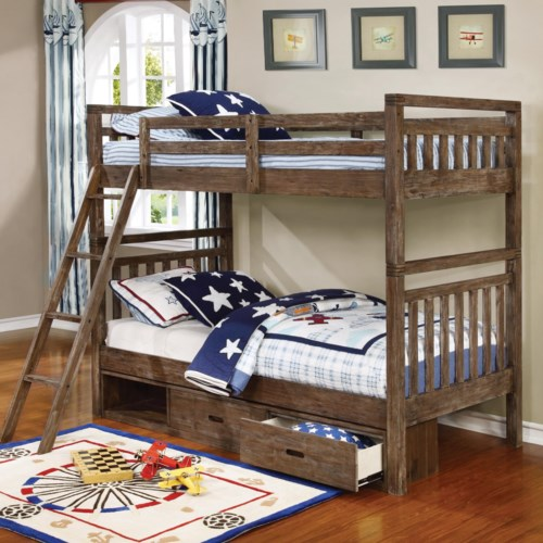 Coaster Malcolm Transitional Twin Over Twin Bunk Bed Furniture