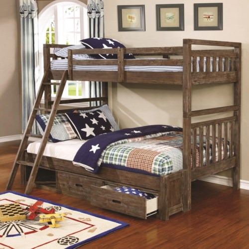 Coaster Malcolm Transitional Twin Over Full Bunk Bed Furniture