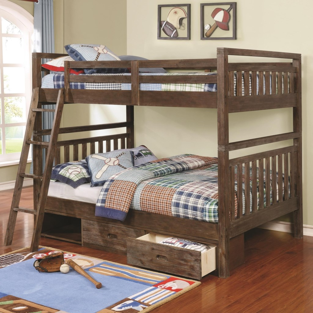 Coaster Malcolm 460373 Transitional Full Over Full Bunk Bed Dunk
