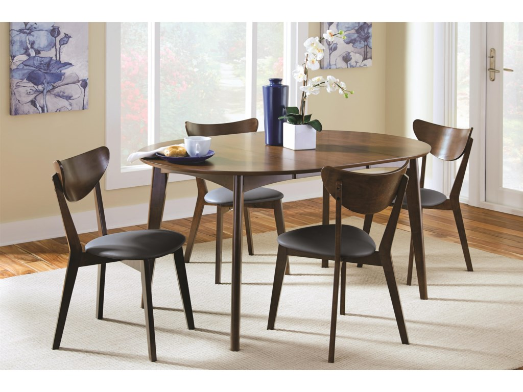 Coaster malone mid century modern 5 piece solid wood dining set dunk bright furniture dining 5 piece sets