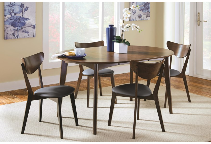 Malone Mid-century Modern 5-Piece Solid Wood Dining Set by Coaster at Dunk  & Bright Furniture