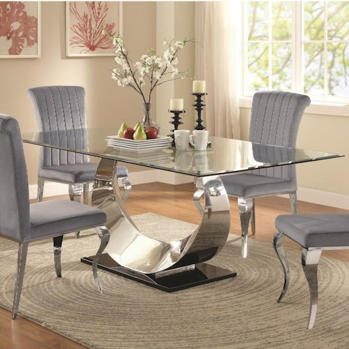 coaster manessier contemporary glass dining table - Dining Room Sets Value City Furniture