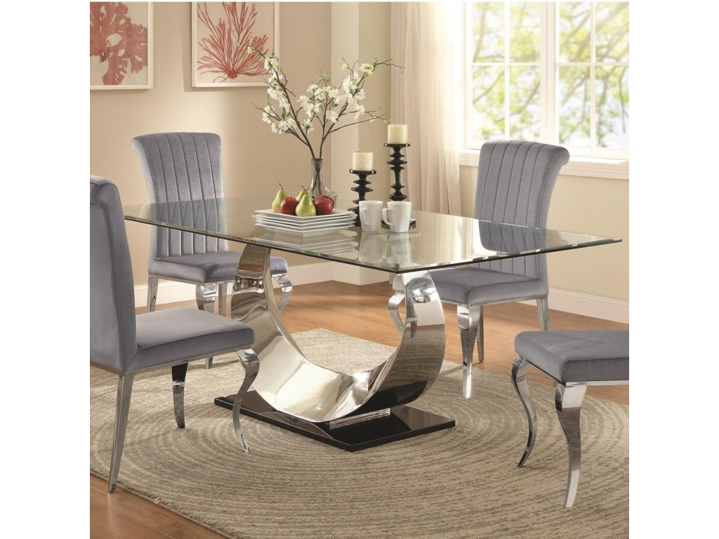 Coaster Manessier Contemporary Glass Dining Table | Value City ...