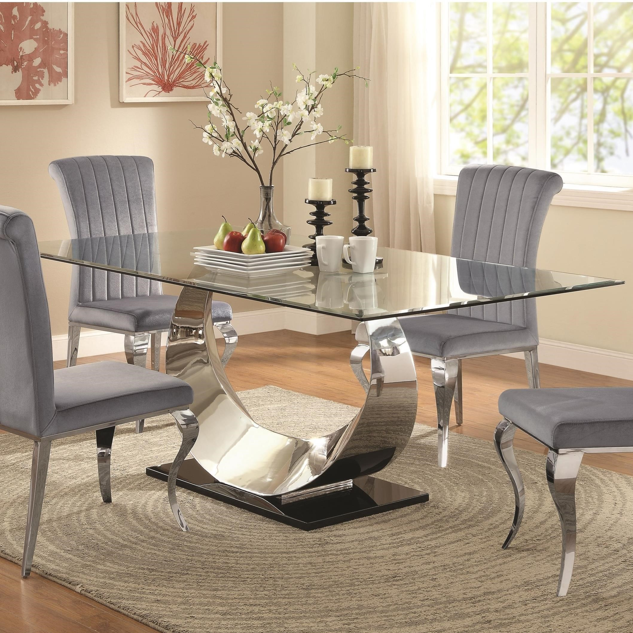 Attirant Coaster Manessier Contemporary Glass Dining Table