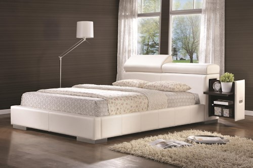 Coaster Maxine Leatherette Upholstered King Bed with Pull-Out Drawer