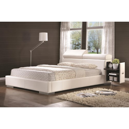 Coaster Maxine Leatherette Upholstered Queen Bed with Pull-Out Drawer