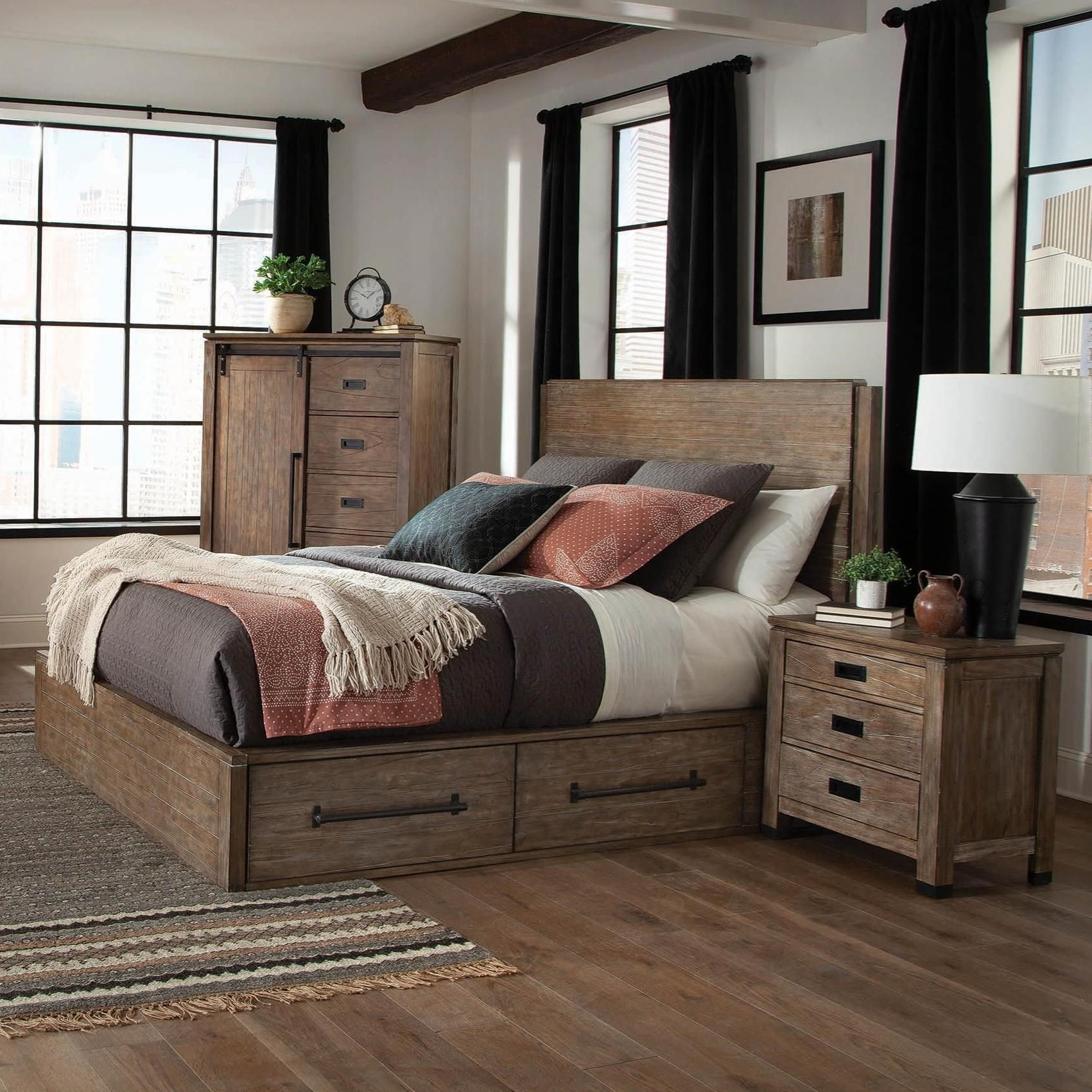 Coaster meester modern rustic queen bed with storage drawers