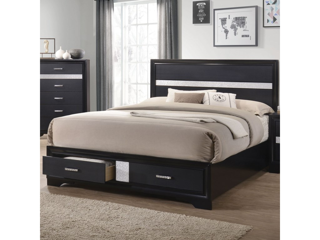 bed bookshelf coaster in queen storage drawers black beds briana with