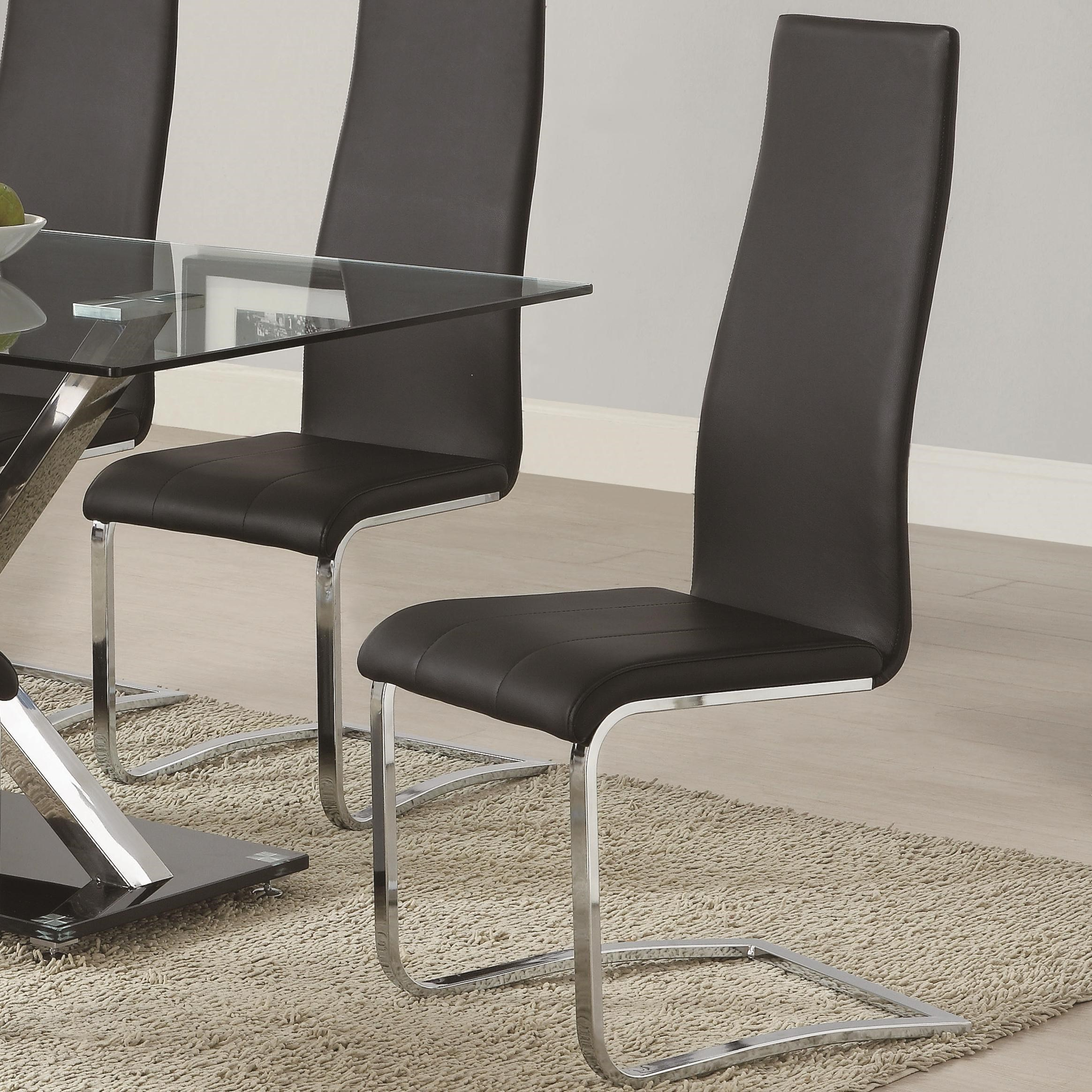 Black Faux Leather Dining Chair with Chrome Legs