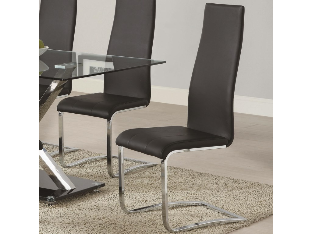 Coaster Modern Dining 100515blk Black Faux Leather Dining Chair With