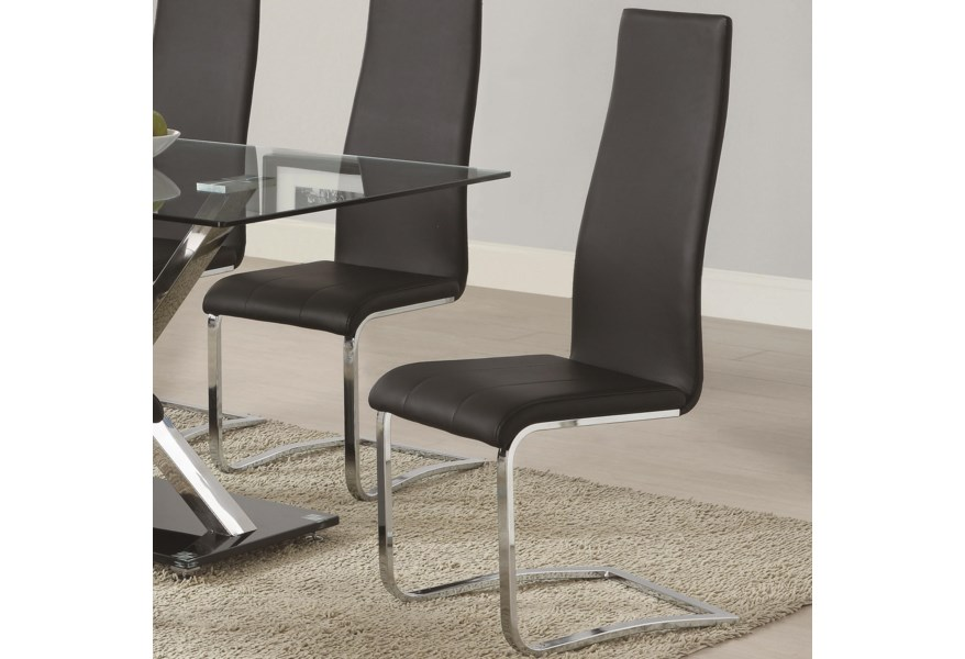 Coaster Modern Dining Black Faux Leather Dining Chair With Chrome Legs Value City Furniture Dining Side Chairs