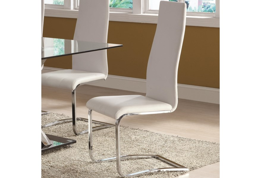 Coaster Modern Dining White Faux Leather Dining Chair With Chrome Legs A1 Furniture Mattress Dining Side Chairs