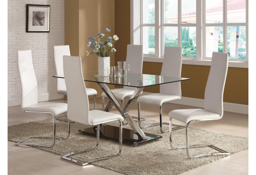 Modern Dining White Faux Leather Dining Chair with Chrome Legs by Coaster  at Dunk & Bright Furniture