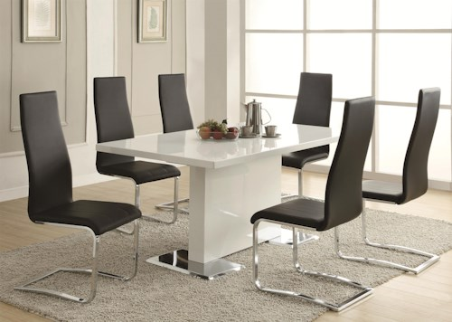 Coaster Modern Dining 7 Piece White Table & Black Upholstered Chairs ...