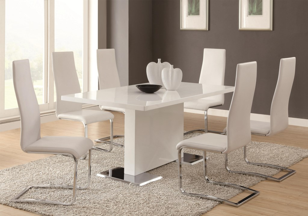 Modern dining 7 piece white table white upholstered chairs set by coaster