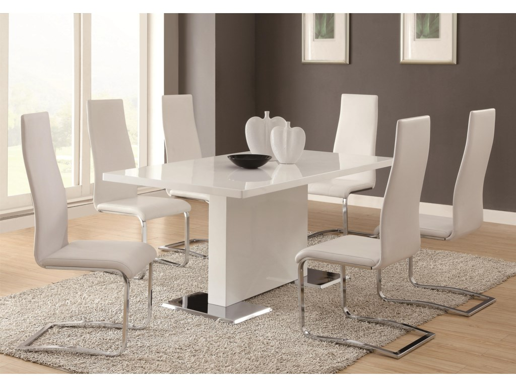 Modern Dining 7 Piece White Table Upholstered Chairs Set By Coaster At Value City Furniture