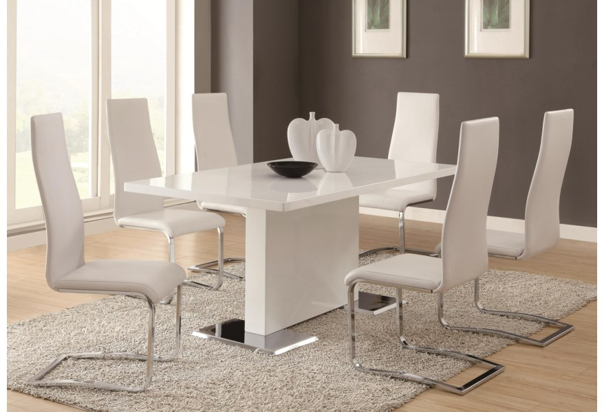 Coaster Modern Dining 7 Piece White Table White Upholstered Chairs Set Value City Furniture Dining 7 Or More Piece Sets