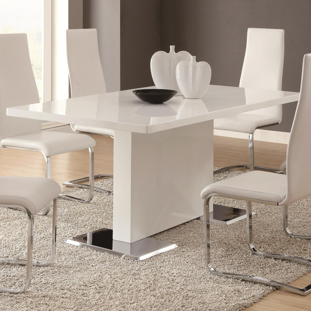 Coaster Modern Dining 102310 White Dining Table With Chrome Metal