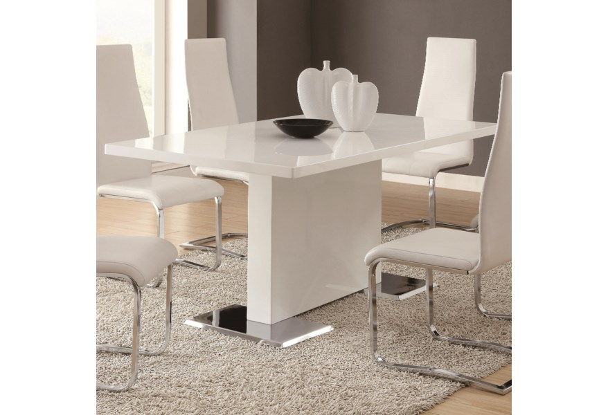 Modern Dining White Table With Chrome Metal Base By Coaster At Dunk Bright Furniture