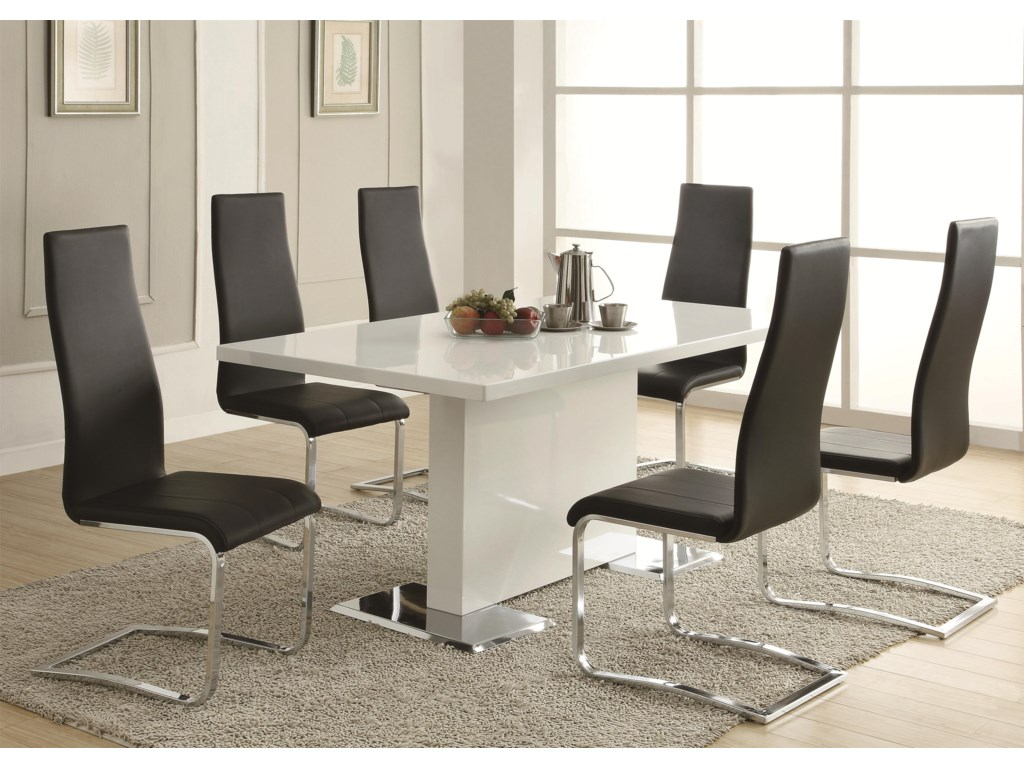 Coaster Modern Diningwhite Dining Table Shown With Black Chairs