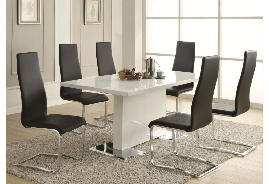 Modern Dining White Dining Table with Chrome Metal Base by Coaster at Dunk  & Bright Furniture