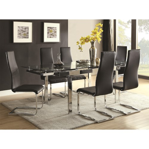 modern dining room set. Coaster Modern Dining Contemporary Room Set With Glass Table  by