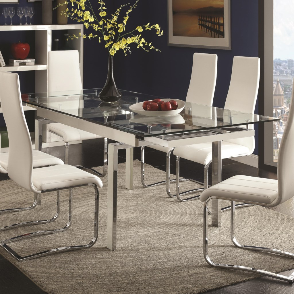 Coaster Modern Dining Contemporary Glass Dining Table With Leaves
