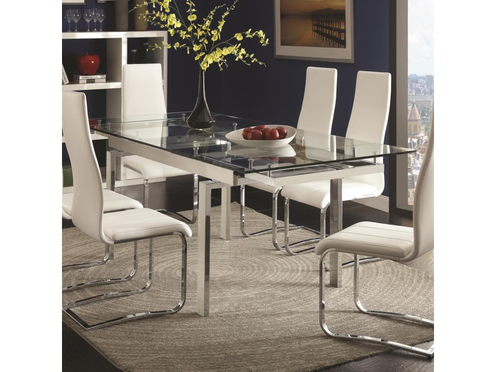 Modern Dining Contemporary Gl Table With Leaves By Coaster