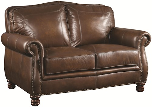 Coaster Montbrook Traditional Love Seat with Rolled Arms and Nail head Trim