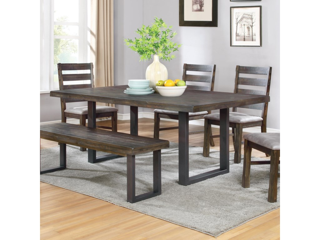 Coaster Murphy Rustic Dining Table With U Shaped Base