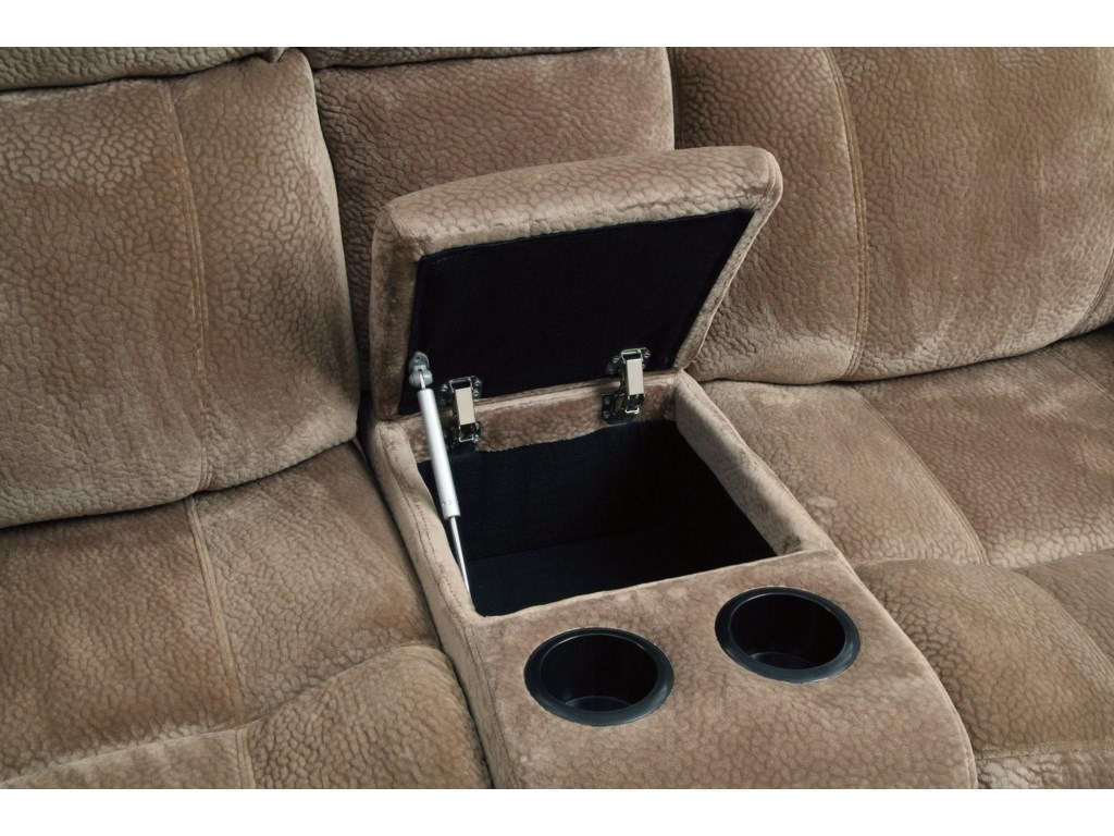 Loveseat Includes a Storage Console with Two Cup Holders