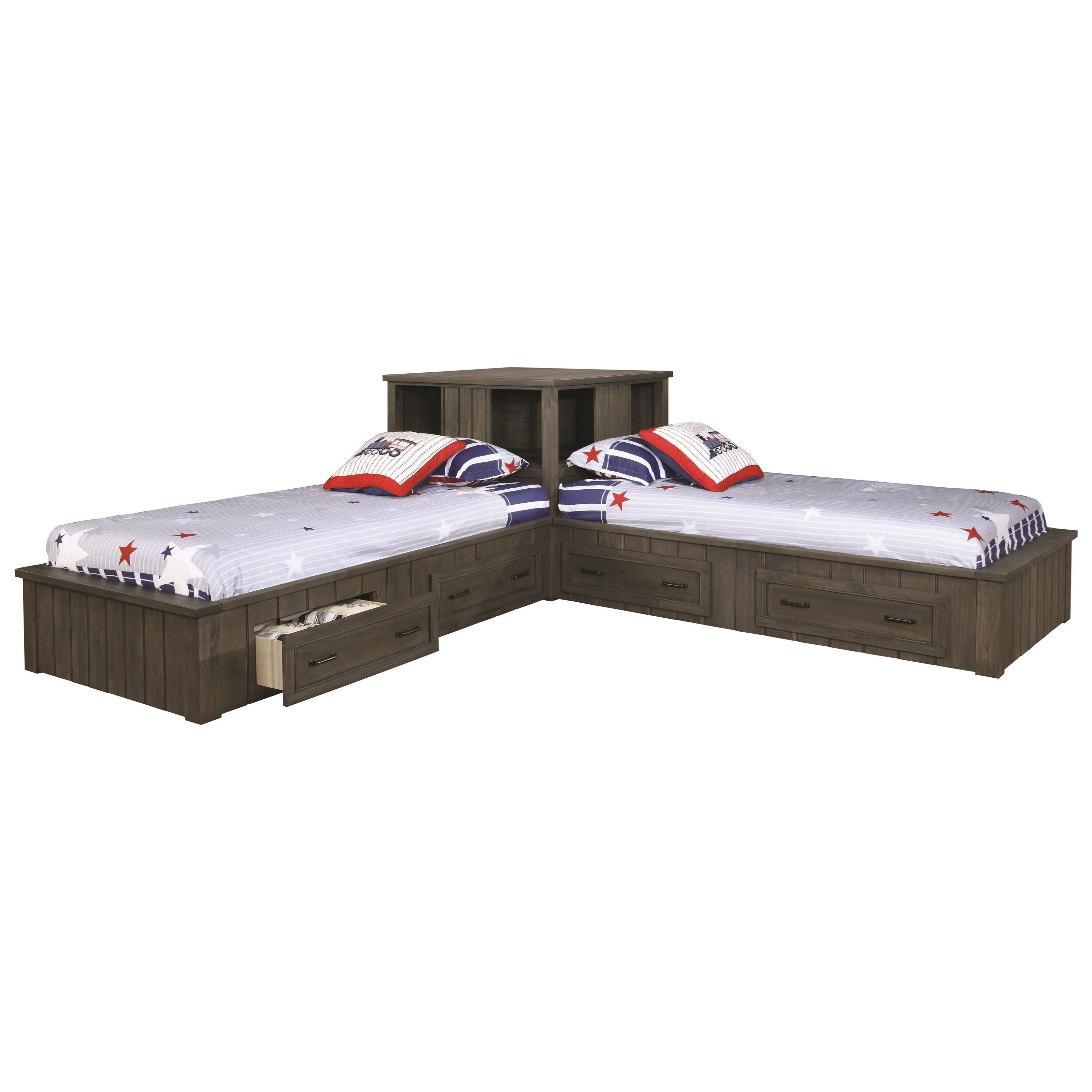 Twin Corner Bed Set with Storage Drawers