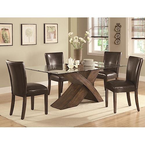 Coaster Nessa 5 Piece X Base Dining Table & Parson Chair Set