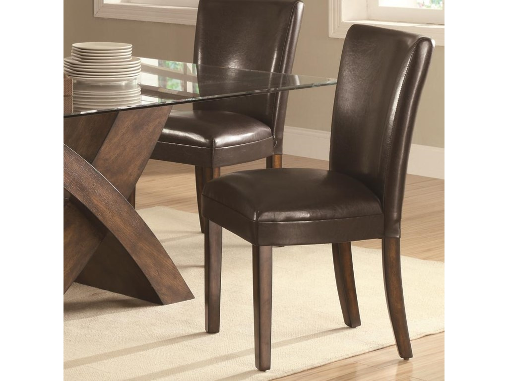 Nessa Brown Leather Like Vinyl Parsons Chair By Coaster At Value City Furniture