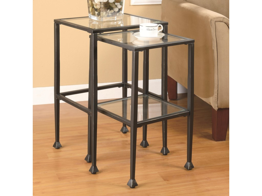 Coaster nesting tables 2 piece glass and metal nesting tables coaster nesting tables 2 piece glass and metal nesting tables value city furniture end tables watchthetrailerfo